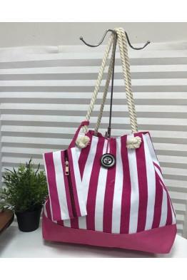Пляжная сумка Полоска розовый